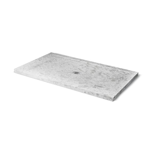 Unik Stone Molded Stone 36-In x 60-In Ice Marble Shower Base