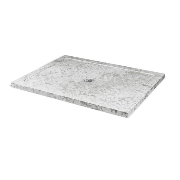 Unik Stone Molded Stone 36-In x 48-In Ice Marble Shower Base