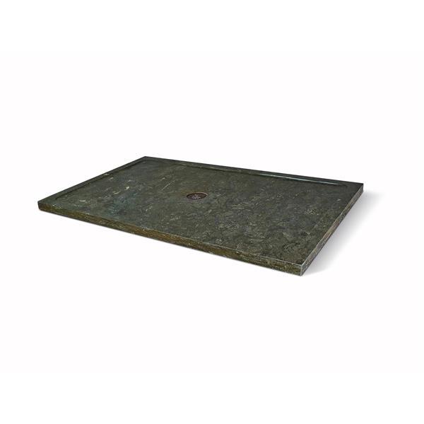 Unik Stone Molded Stone 32-In x 60-In Limestone Shower Base