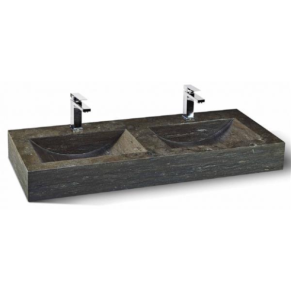 Unik Stone Double Sink - Limestone - 48-in