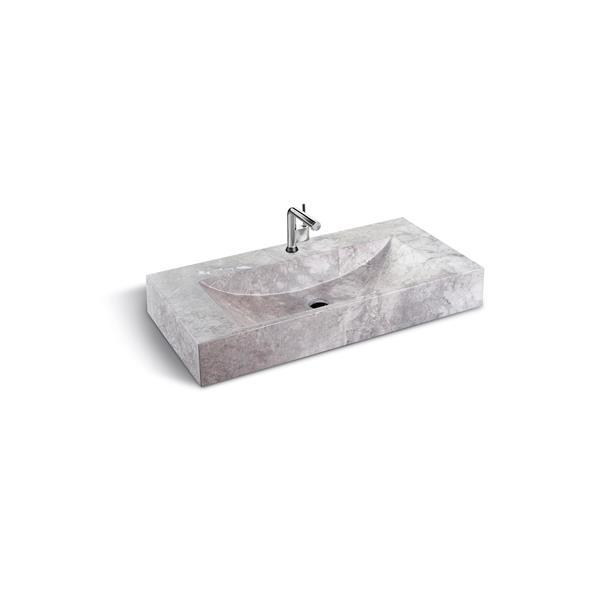 "Lavabo en pierre Unik Stone, marbre gris, 36"""