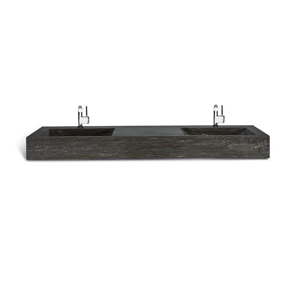 Unik Stone Double Sink - Limestone - 60-in