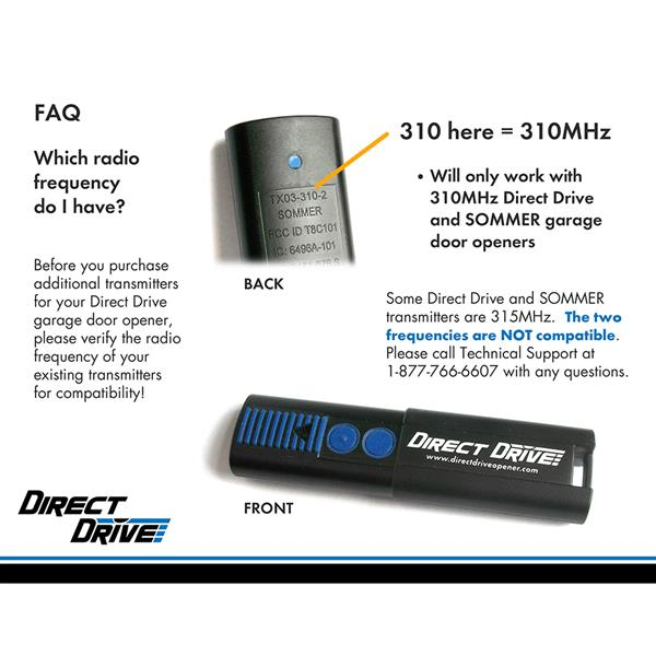 DirectDrive 310 Mhz 2 Button Remote Control