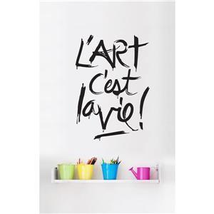 Appliqué mural avec texte en francais, blanc et noir