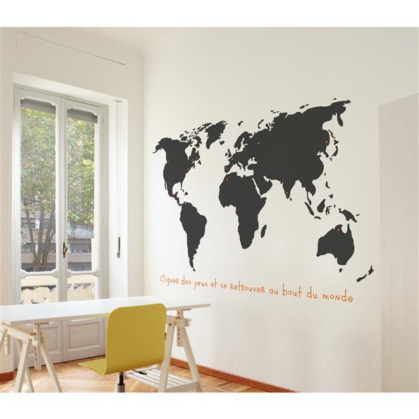 Appliqué mural, monde , 5,6' x 3,6'