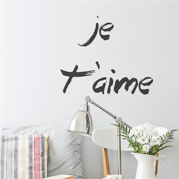 """ADzif Text Wall Decal - """"Je t'aime"""" - 1.8' x 1.7'"""