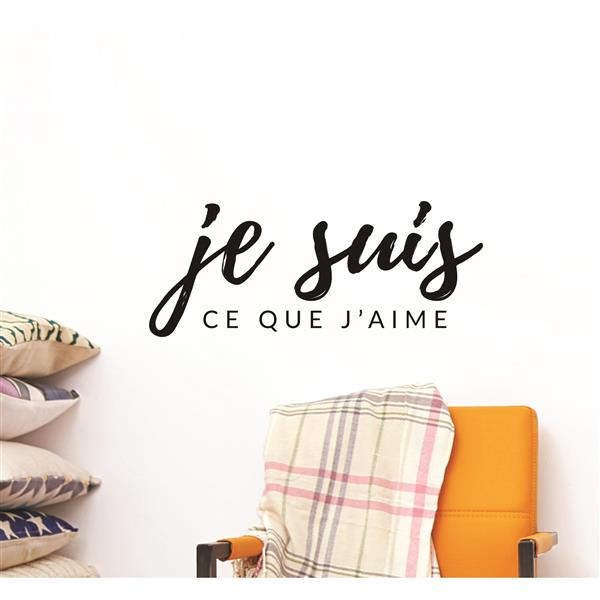 """ADzif Text Wall Decal - """"Ce que j'aime"""" - 0.8' x 1.9'"""