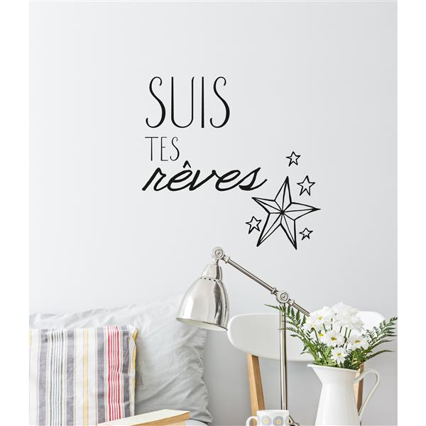 "ADzif Text Wall Decal - ""Suis tes rêves"" - 2.2' x 1.6'"