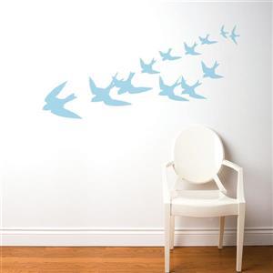 Appliqué mural, liberté, 5,9' x 2,3', bleu pastel