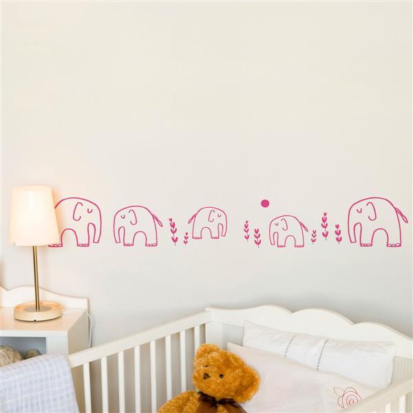 Appliqué mural, éléphants, 4,5' x 0,7'