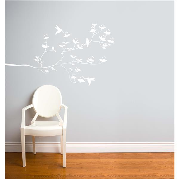 ADzif Birds & Buds Wall Decal - 4.6' x 2.7' - White