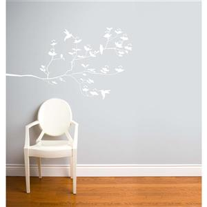 ADzif Birds & Buds Wall Decal - 4.6' x 2.7' - White