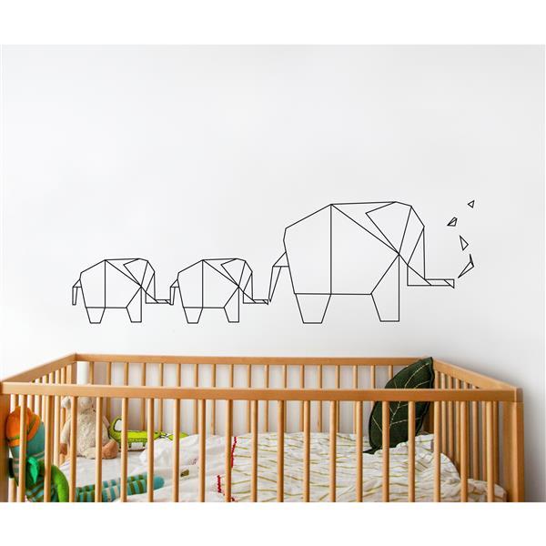 Appliqué mural, éléphant origami, 5' x 1,6'