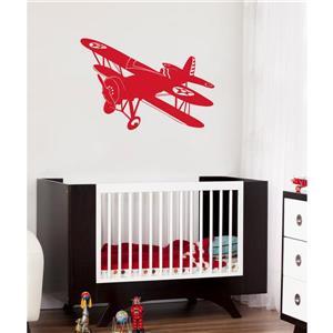 Appliqué mural, avion biplan , 3,6' x 2,5'