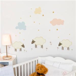 Appliqué mural, petits moutons , 3,5' x 2,1'