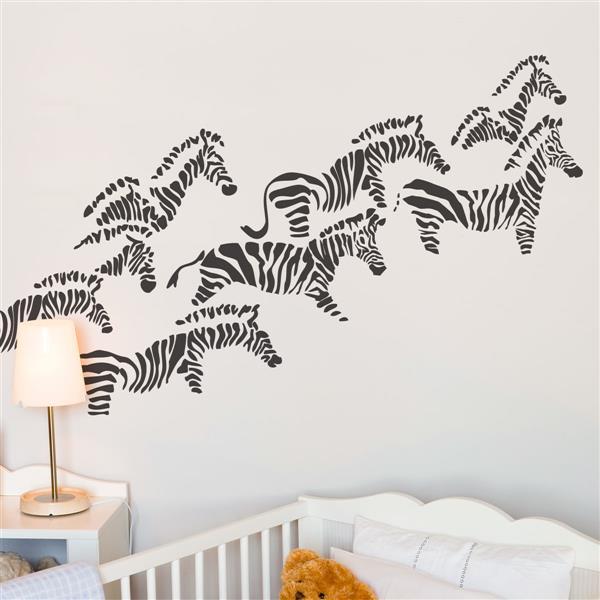 ADzif Herd of Zebras Wall Decal - 4.6' x 2.5'