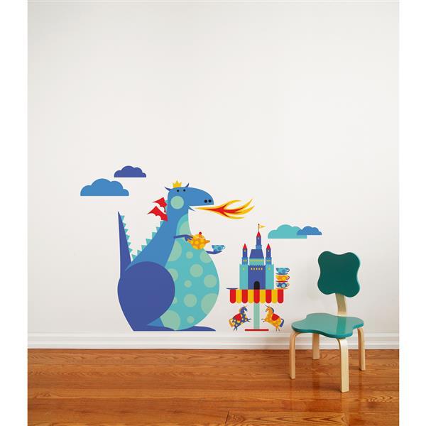 """Appliqué mural, """"Dragon Tea Party"""" , 4,3' x 2,9'"""