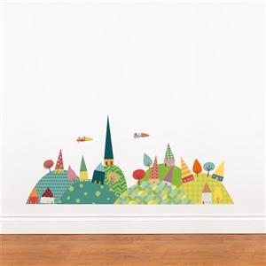 Appliqué mural de Noël, voyage à la campagne , 3,7' x 1,6'