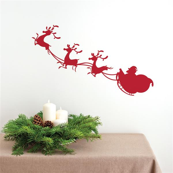 Appliqué mural de Noël, traîneau de Noël, 3,2' x 0,9'