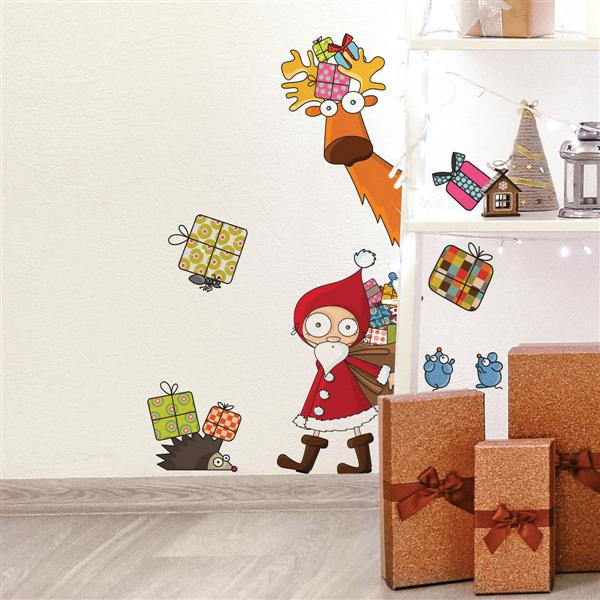 ADzif Christmas Wall Decal - Santa Claus - 2.6' x 1.8'