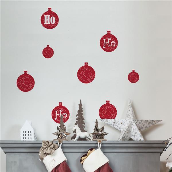 ADzif Christmas Wall Decal - HO HO HO - 3.1' x 2.5' - Red