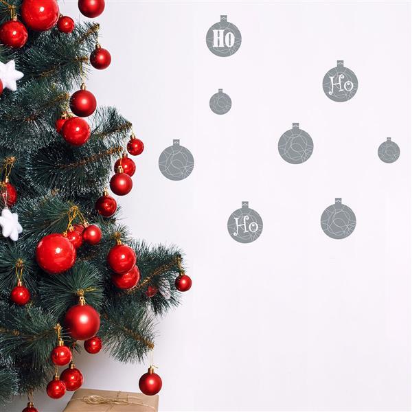 ADzif Christmas Wall Decal - HO HO HO - 3.1' x 2.5' - Gray