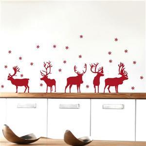 Appliqué mural de Noël, rennes de Noël , 4,1' x 1,4'
