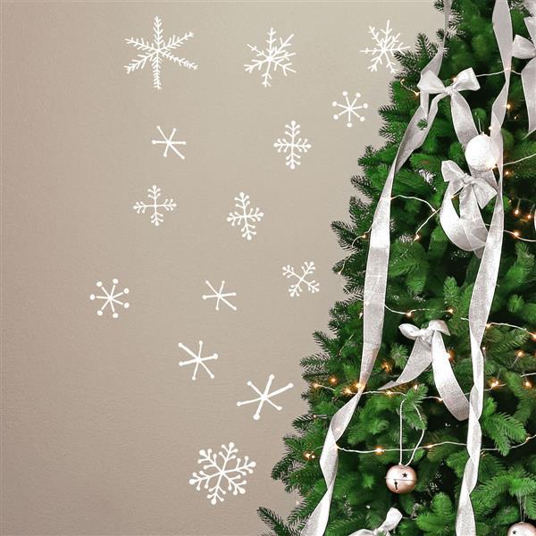 Appliqué mural de Noël, flocons de neige, 2,6' x 2,3', blanc