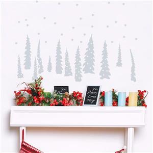 Appliqué mural de Noël, sapins gris pâle, 3,5' x 1,6'