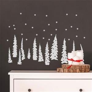ADzif Christmas Wall Decal - White Trees- 3.5' x 1.6'