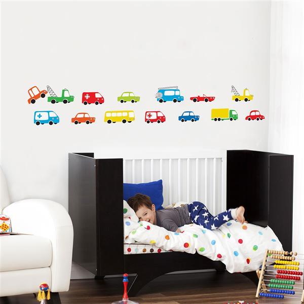 "Appliqué mural, ""Trucks"", 6' x 0,9'"
