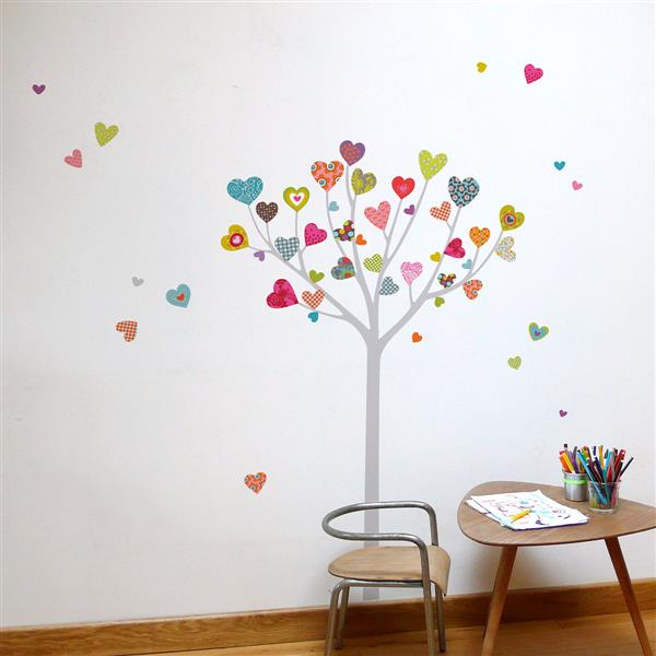 "Appliqué mural, ""Heart Tree"", 5,5' x 5,6'"