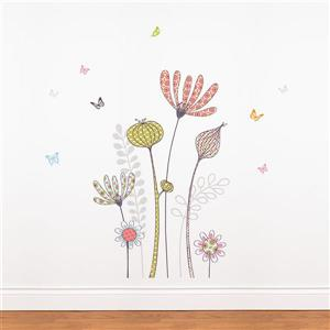 ADzif Flowers and Butterflies Wall Decal - 4.2' x 4.3'