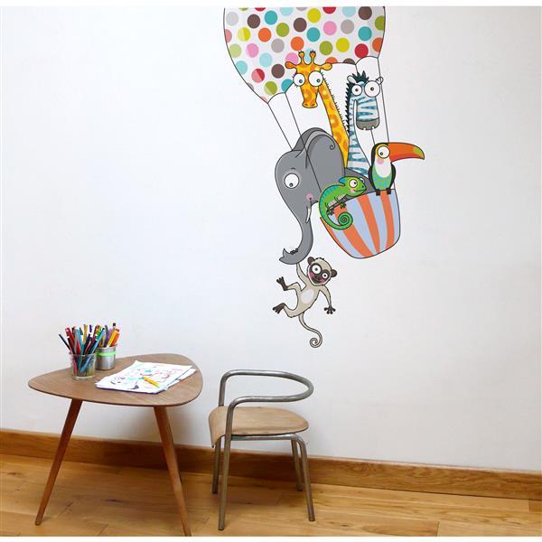 Appliqué mural pour enfants, un tour en ballon , 4,1' x 2,6'