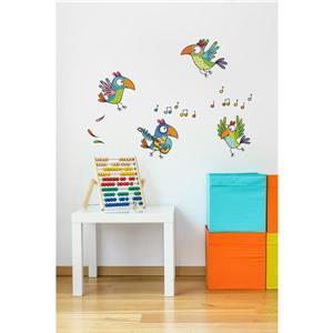 Appliqué mural pour enfants, perroquets, 2,2' x 3'