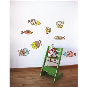 Appliqué mural pour enfants, gros poissons, 2,1' x 3,1'