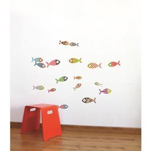Appliqué mural pour enfants, petits poissons, 2,5' x 3,3'