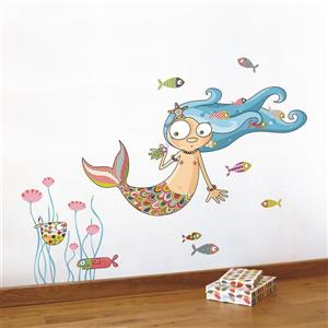 Appliqué mural pour enfants, boucles d'eau, 3,6' x 3,3'