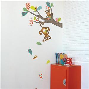 Appliqué mural pour enfants, singeries de Kiki, 6,9' x 3,1'