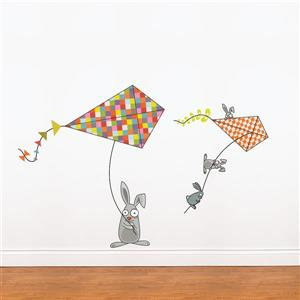 ADzif Bunnies and Kites Wall Decal for Kids - 3.4' x 5.2'