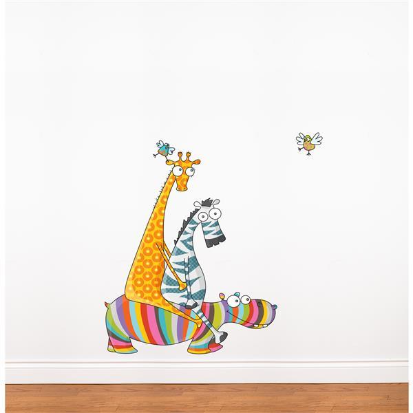 Appliqué mural pour enfants, balade entre amis, 3,5' x 3,5'