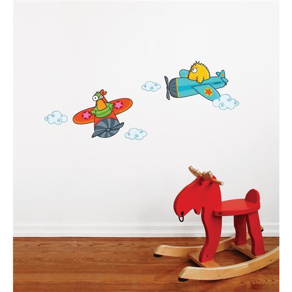 Appliqué mural pour enfants, avion coincoin, 1,4' x 3,4'