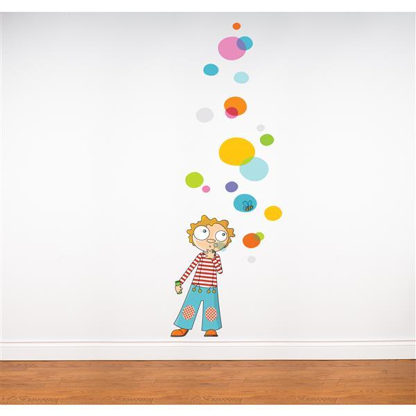 Appliqué mural pour enfants, bulles, 4,9' x 3,3'