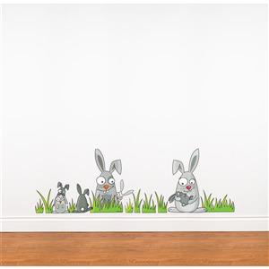 Rabbits 1.3- in x 4.1- in Wall Decal fro Kids