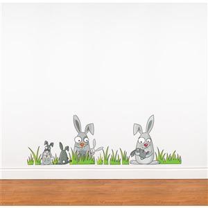 Appliqué mural pour enfants, lapins, 1,3' x 4,1'