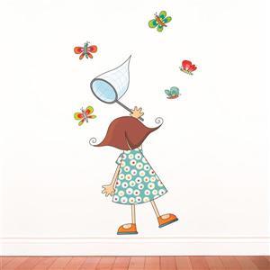 Appliqué mural pour enfants, fillette papillons, 4,8' x 3,4'