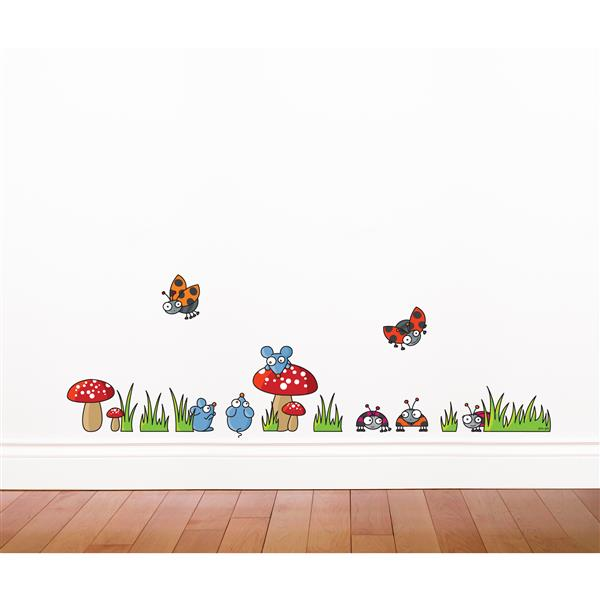 ADzif Mice and Ladybugs Wall Decal for Kids - 1.4' x 4.2'