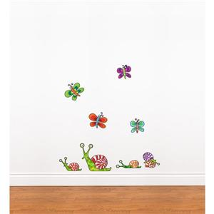 ADzif 2.9-ft x 2.8-ft Mini Snails Wall Decal For Kids