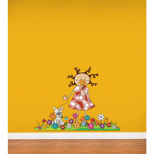 ADzif Lou in Flowers Wall Decal for Kids - 3.3' x 4.3'
