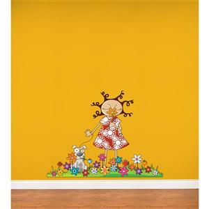 Appliqué mural pour enfants, Lou et les fleurs, 3,3' x 4,3'